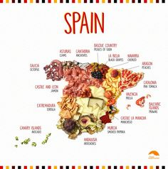 Spanish food and gastronomy go well beyond paella. Spanish Dishes, Spanish Food, Spanish Games, Spanish Cuisine, Spanish Class, Backpacking Spain, Supermarket, Food Map, Recipes