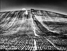 Mario Giacomelli's Landscapes – The photographer used to ask the farmers, paying them, to create with their tractors precise marks on the ground, acting directly on the landscape to photograph and then accentuate such signs in the press. Mario, White Photography, Landscape Photography, Milan, Camera World, Famous Photographers, Photo Series, Photo Essay, Land Art