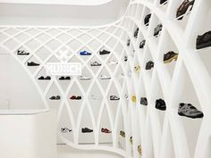 cool wall in a sneakers store