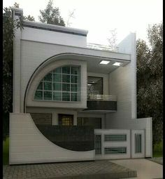 Pin by mike olivier on art deco house, house design, modern house desig Bungalow House Design, House Front Design, Small House Design, Modern House Design, Exterior Wall Design, Facade Design, Home Map Design, Art Deco Home, House Elevation
