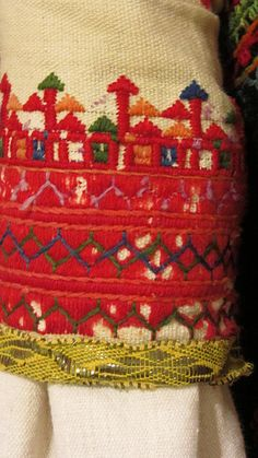 Traditional embroidery on a Greek wedding outfit Fabric Embellishment, Embellishments, Greek Traditional Dress, Folk Clothing, Textiles Techniques, Greek Wedding, Textile Fabrics, Folk Costume, Albania