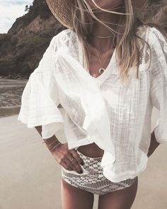 beach adventures with our 'Pearl Crescent Necklace' + ' Gold Half Circle Choker'
