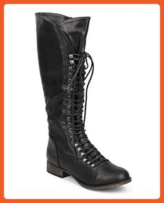 Georgia 75 Women Military Lace Up Knee High Combat Boot Black 9 - Boots for women (*Amazon Partner-Link)