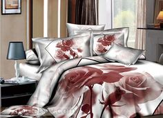 Engrammic Light Brown Rose Printed 4 Piece Comforter Sets with Cotton : Tidebuy.com