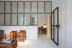 interior, divider, recycling, glass, door, metal frame, apartment