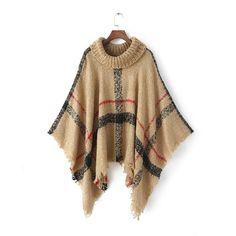 Moda de la estola larga bufanda de la tela escocesa del poncho de Pashmina de cuello alto a rayas Tasseled suéter caliente del mantón…