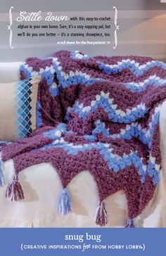 Hobby Lobby Project - Snug Bug - Crochet, Afghan, Blanket, Pattern, Throw