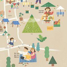 2017 청주야행 동네지도 - 일러스트레이션, 일러스트레이션, 디지털 아트, 일러스트레이션 Map Projects, School Projects, Map Design, Graphic Design, Character Illustration, Illustration Art, Map Layout, Illustrations And Posters, Art For Kids