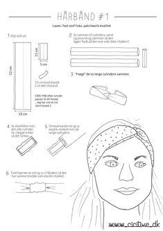 Billedresultat for pandebånd mønstret Sewing Headbands, Diy Baby Headbands, Fabric Headbands, Diy Headband, Turban Headband Tutorial, Sewing Hacks, Sewing Tutorials, Sewing Crafts, Sewing Projects