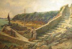 """Charles Alexandre Masson """" Retour de pêche en Bretagne """""""