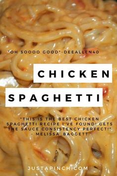 Chicken Spaghetti – this is the ultimate comfort food recipe! – Chicken Recipes Chicken Spaghetti – this is the ultimate comfort food recipe! Best Chicken Spaghetti Recipe, Chicken Spaghetti Recipes, Yummy Chicken Recipes, Chicken Spaghetti Casserole, Chicken Spaghetti Velveeta, Mexican Chicken Spaghetti, Cheesy Spaghetti, Recipe Chicken, White Spaghetti Recipe