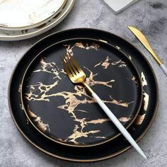 Marble Phnom Penh Ceramic Western Plate Nordic Salad Plate Ins Inlay Gold Pattern Marble Pattern Steak Stew Dinner Dish Home Hotel Ceramic Food Dish Marble Plates, Ceramic Plates, Phnom Penh, Kitchen Items, Kitchen Decor, Kitchen Things, Kitchenware, Tableware, Green Marble
