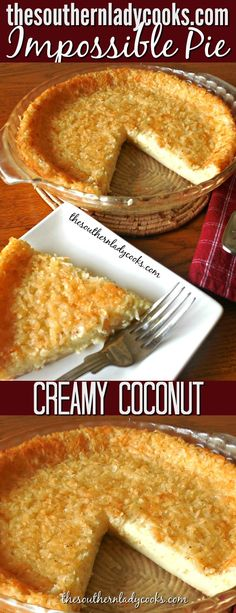 This old fashioned creamy coconut custard pie makes its own crust. Comfort food at its best and an easy r This old fashioned creamy coconut custard pie makes its own crust. Comfort food at its best and an easy recipe. A wonderful dessert anytime. Kokos Desserts, Coconut Desserts, Coconut Recipes, Köstliche Desserts, Delicious Desserts, Dessert Recipes, Best Coconut Pie Recipe, Dessert Food, Impossible Coconut Pie