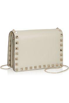 Valentino|The Rockstud leather shoulder bag|NET-A-PORTER.COM