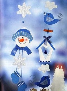 Winter mobiel met patroon / HÓEMBER, MIKULÁS PAPÍRBÓL, FILCBŐL SABLONNAL