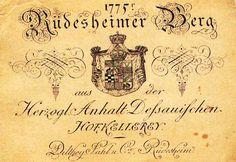 немецкая монохромная винная этикетка XVIII века