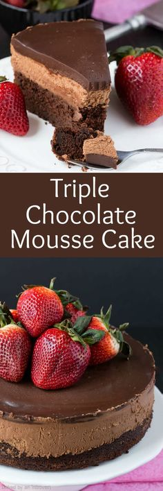 Triple chocolate Mousse Cake is the perfect light dessert recipe. It's made with a chocolate cake base, cool creamy mousse filling and topped with rich dark chocolate ganache.