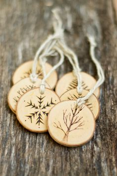 Tree Branch Christmas Ornaments - Wood Burned Trees - Rustic, Natural And Eco…