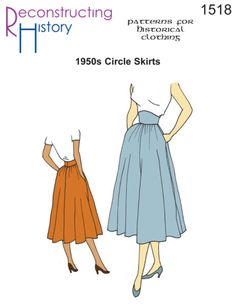 1950s Sewing Patterns | Swing and Wiggle Dresses, Skirts 1950s Circle Skirts