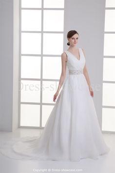 White V-neck Court Train Satin Sleeveless Wedding Dresses #wedding #weddinggown #weddingdress #dress #fashion #bigday #womenfashion #womenwear #2015wedding
