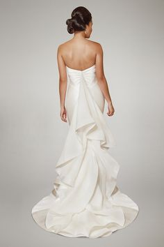 Arya by Matthew Christopher - Mikado and Duchess Satin Bridal Gown with an Organza Ruffle Statement Back