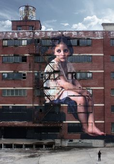 "Mural Art on the side of a 7 storey factory building of William-Adolphe Bouguereau's ""Au pied de la falaise"" painting - in Memphis, Tennessee, USA by French Artist & Film Maker, Julien de Casabianca. 3d Street Art, Murals Street Art, Urban Street Art, Best Street Art, Amazing Street Art, Street Art Graffiti, Urban Art, Graffiti Artists, Banksy"