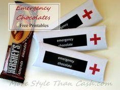 Emergency Chocolate Printable