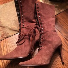 Brand new suede lace up boots..never worn! FUN brown boots....look great with sweater dress or leggings!! Newport News Shoes Lace Up Boots