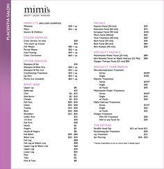 Salon Price List- id