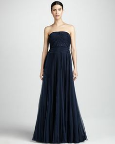 I would like to be skinny. And I'd like for my husband to take me somewhere in this dress....  Pleated Strapless Gown by Carmen Marc Valvo Couture at Bergdorf Goodman.