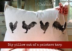 diy no sew pillow out of painter tarps  PAINTER'S TARPS ARE WHEN WASHED  S E V E R A L  TIMES VERY SOFT AND COME IN DIVERSITY OF SIZES CHEAP. GREAT FOR MANY PROJECTS..GIVE IT SOME THOUGHT...CK SIZES AND PRICES!