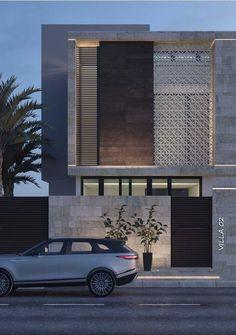 Modern house facades - Os cobogós deixam transparecer o interior da casa com suavidade
