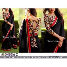 Gorgeous black partywear saree with fancy blouse