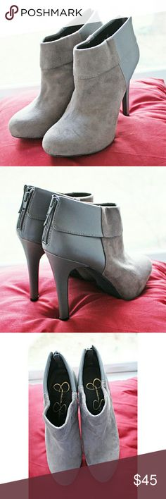"""💣Jessica Simpson💣Audriana charcoal booties Beautiful charcoal gray mixed vegan leather (half suede look, half smooth leather look) high heel booties from Jessica Simpson About a 4"""" heel and a 3/4"""" platform Super comfortable, I just have a similar pair and have never worn these Comes new with box Jessica Simpson Shoes Ankle Boots & Booties"""