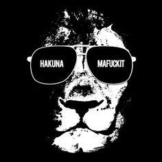 T-Shirts Kurzarm print - Hackuna Mafuckit Lion (Herren T-Shirt) - ein Designerstück von KaterLikoli bei DaWanda