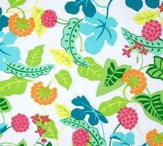 Fabric by the Yard, Indoor Outdoor Baja Floral Pink Green Yellow Turquoise White by PillowsCushionsOhMy on Etsy