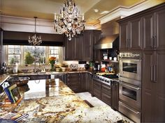 Contemporary Dark Brown Painted Kitchen Cabinets