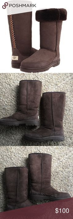 """Ugg Ultra Tall Sheepskin Boots Ugg Ultra Tall Sheepskin Boots, in chocolate brown.  13"""" height. Embroidered back seam. Molded tread sole. Great condition- worn only a handful of times!! Cover photo is stock image...please see actual boot images.  Women's 9. UGG Shoes Winter & Rain Boots"""