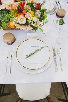Herb At Place Setting... love the simple elegant beauty