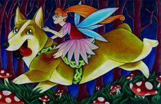 Children's Art  Fantasy Art  Fairies and Corgis by ArtByEmmyKay, $25.00