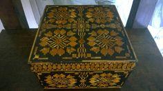 Beautiful decorative square wood box/ Polish folk square trinket box/ Cute jewelery box/ Geometric print brown money box/ Amazing gift box