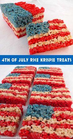 of july rice krispie treats recipe of july 4th Of July Desserts, Fourth Of July Food, Great Desserts, 4th Of July Party, July 4th, Rice Krispy Treats Recipe, Rice Krispie Treats, Rice Krispies, Summer Treats