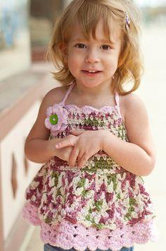 Ravelry: Hello Summer 2T 4T crochet Halter top or dress pattern by Janelle Ponte