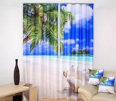 Stylowe zasłony beżowe z palmami i morzem