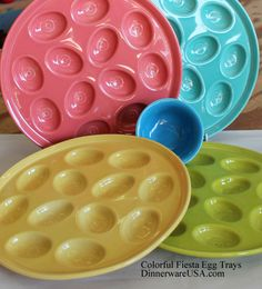 Colorful Fiesta Egg Trays the perfect accent for Easter Eggs, picnics and family gatherings. http://dinnerwareusa.com photo. Love how these colors work together and egg plate design.