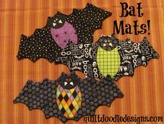 "Let's go batty this Halloween! A really cute mini quilt for your coffee mug and sweet treat!  Finished size 6 "" x 13""  Supplies for each bat : 6"" square Fusible Web 7"" x 14"" fabric rectangle for backing 7"" x 14 black fabric rectangle for front Black thread for machine quilting and appliqué Scrap fabric in the following colors; white, black, orange or assorted Halloween fabrics for bat body and face. 2 tiny buttons for bat's eyes 7"" x 14 ""piece of batting  4 pages of directions in US…"