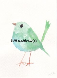 Mint Robin,  Watercolor Painting, Art Print, Watercolor Art, Mint Green Bird