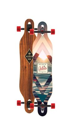 Skateboards | Arbor Collective | The Axis is a symmetrical, snowboard inspired shape that offers quick rail-to-rail performance, with drop-through mounting for a more ergonomic push and power through turns and slides. Artists: Matt Smith & Eric Waetzig
