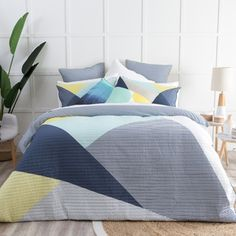 Give your bedroom a contemporary update with our Splice quilt cover set! This geometric design is available in two colour palettes, and features a gorgeous quilted texture so you can style as a coverlet in summer, and a wonderfully cosy quilt in winter.