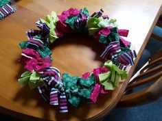 My version of a Fabric wreath for Christmas